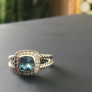 David Yurman petite Albion ring, blue topaz